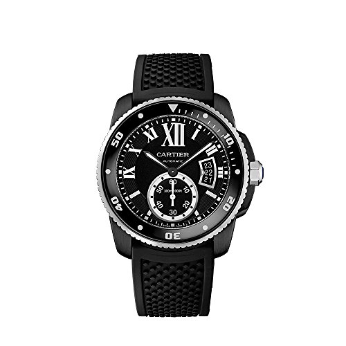 Cartier Men's 42mm Black Rubber Band Steel Case Sapphire Crystal Automatic Analog Watch WSCA0006