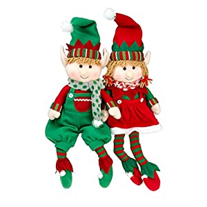 "Elf Plush Christmas Stuffed Toys- 12"" Boy and Girl Elves (Set of 2) Holiday Plush Characters from SCS Direct"
