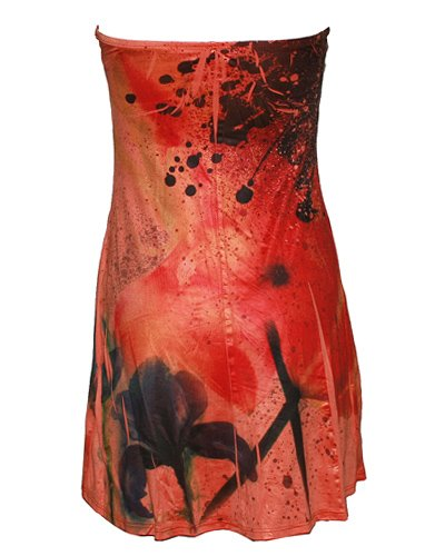 Strapless Knit Dress Orange Sublimation, Bra Cups and Twisted Front