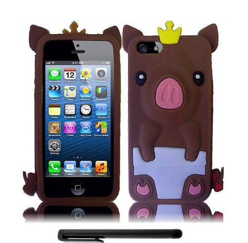 Apple Iphone 5 And 5S (New 4G Lte For All Carrier) 3D Coffee Brown Crowned Baby Pig Premium Design Flex Skin Cover Case + Bonus Black Capacitive Stylus + Long Arch 5.5 Inch Light Blue Screen Cleaning Cloth