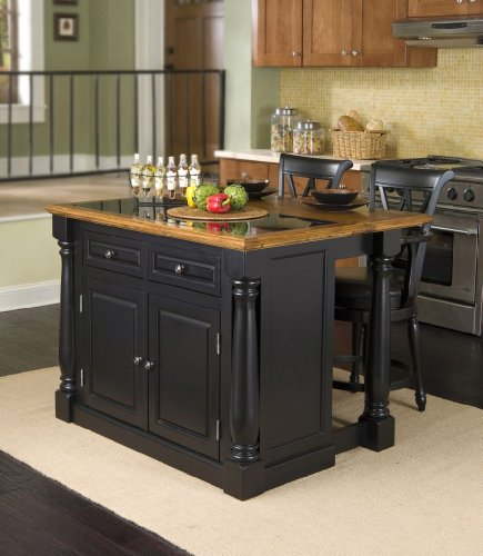 Cheap Home Styles 5009-948 Monarch Granite Top Kitchen Island with 2 Stool, Black Finish (5009-948)