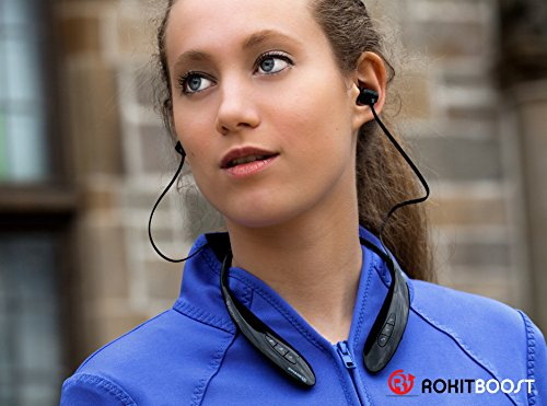 SwageU EVO Neck Bluetooth Headphones - Curved Headset for Extra Comfort - Longer Battery Life - Mute calls, Engage Siri directly from Headset - Blue