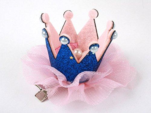 子供 クイーン冠型 真珠 ヘアピン ヘアピン コスプレ 文化祭 藍色