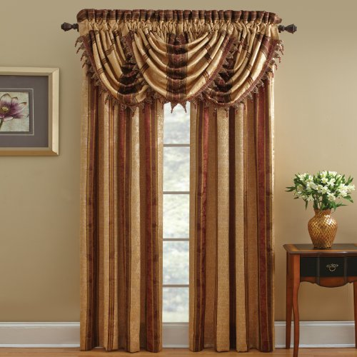 Chapel Hill By Croscill Marquis Waterfall Swag Valance, 48 By 33-Inch, Red