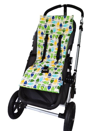 Tivoli Couture Nu Comfort Memory Foam Stroller Pad And Seat Liner, Hooty Hoot Green front-1000368