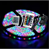 Noza Tec Waterproof 5M 3528 RGB 300 Led Strips Lighting entire kit by using 24Key IR isolated +2A AC UK Plug Adapter electrica Supply For property lighting and Kitchen