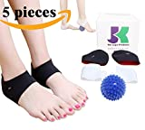 PedPal by DR JK- Comprehensive Plantar Fasciitis Kit-5 pieces Plantar Fasciitis Sleeve, Massage Ball, Foot Arch Support, Foot massager, Heel Pads, Ankle Brace, Relieve Foot Pain and Metatarsal Pain