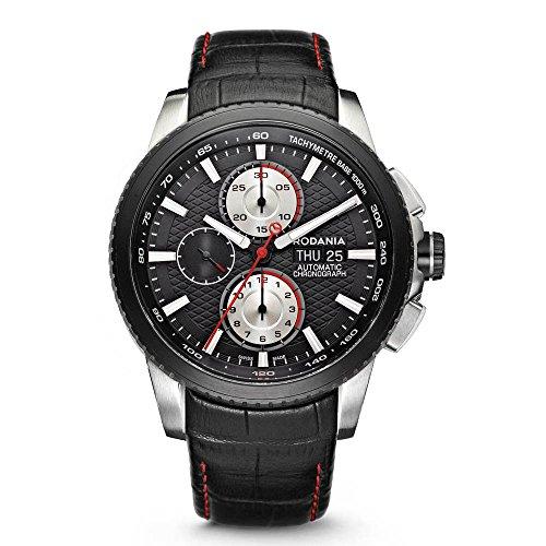 RODANIA Xseba 25053-26 44mm Automatic Stainless Steel Case Black Calfskin Anti-Reflective Sapphire Men's Watch
