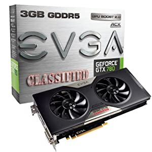 EVGA GeForce GTX 780 Classified w/ ACX Cooler 3GB GDDR5 384-bit, Dual-Link DVI-I/DVI-D HDMI DP SLI Ready Graphics Card 03G-P4-3788-KR