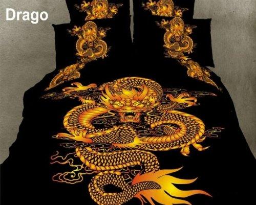 Dolce Mela DM414Q Dragon 6-Piece Queen Duvet Cover Set