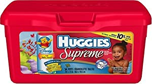 Huggies Supreme Baby Wipes with Aloe and Vitamin E, Fragrance Free, 72-Count Tubs (Pack of 8) (576 Wipes)