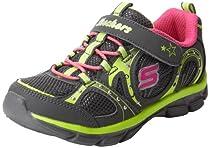 Skechers Kids 10300N Twinkle Toes Trendsters Sneaker,Charcoal/Neon Pink/Lime,5 M US Toddler