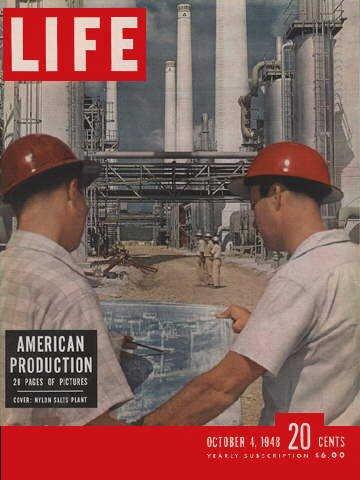 Original Life Magazine from October 4, 1948 - Two men in Hardhats PDF