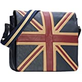 Union Jack Leather Bag - Messenger Vintage Shoulder Bag - Satchel Bag - London
