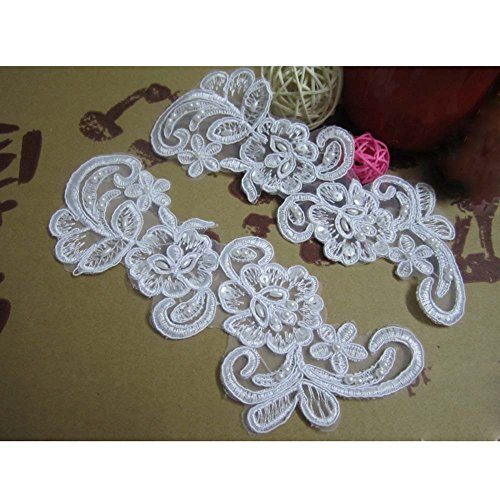 """8"""" x 3-1/4"""" White Polyester Faux Pearls Beaded Sequin Applique Patch Lace Trim Pack of 2"""