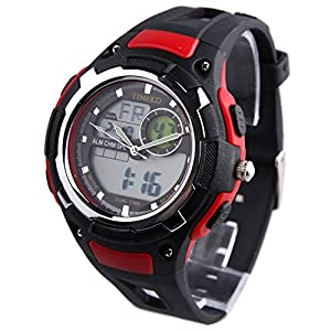 TIME100 Multifunction LED Dual-time Display Red Outdoor Sports Watch #W40071M.02A