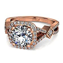 buy 14Kt Rose Gold Halo Engagement Setting Featuring An X Split Shank Featuring A Kite Set Round Brilliant Diamond Accent In The Center. 1/4 Ctw Near-Colorless Color Si1-Si2 Clarity