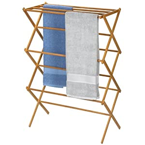 Household Essentials Folding Clothes Drying Rack, Bamboo