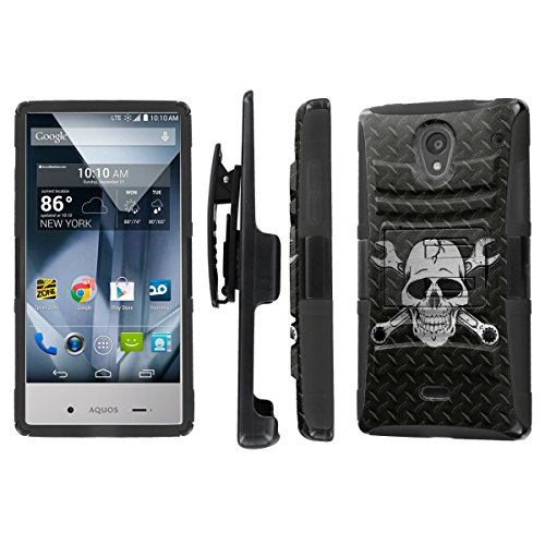 NakedShield Sharp AQUOS Crystal (Black Diamond Plate Wrench Skull) Combat Tough Holster KickStand Armor Phone Case (Sharp Aquos Case Armor compare prices)