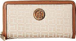 Tommy Hilfiger Women\'s TH Serif Signature - Monogram Jacquard/Smooth Large Zip Around Wallet Khaki Tonal Checkbook Wallet