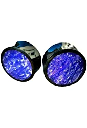 Pair - Reflective Hollow Horn & Pearlescent Purple Fused Resin Inlay Ear Plugs - All Sizes