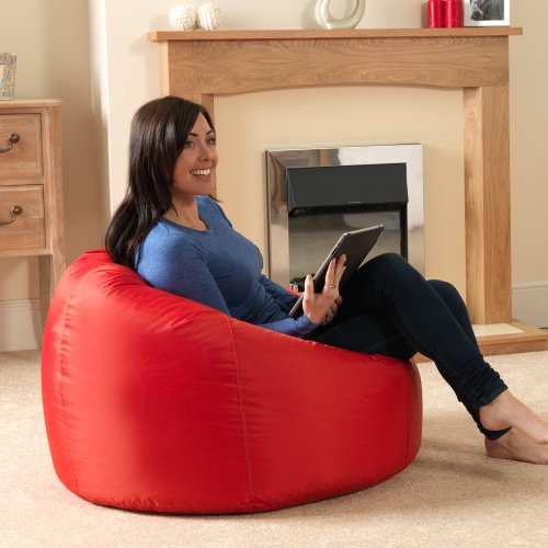 Bean Bag Bazaar® Panelled XL Extra Large Bean Bags Indoor/Outdoor RED - Bean Bag Chairs