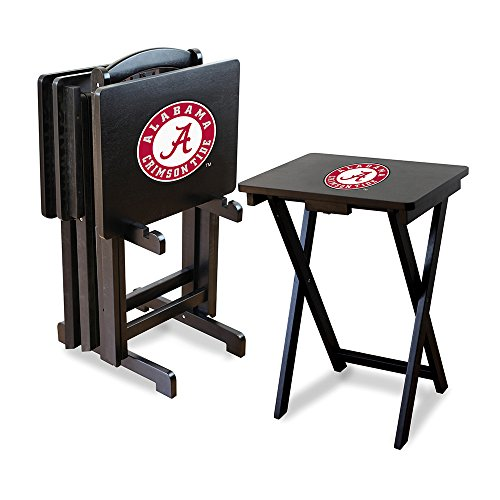 Ncaa Alabama Crimson Tide Tv Snack Trays With Storage Rack (Set Of 4)
