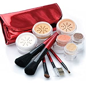 "IQ Natural Large Mineral Makeup Kit; 12pc ""FAIR""Get Started Set includeds 6pc Brush Set"