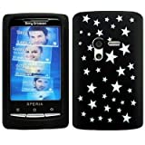 Wayzon Sony Ericsson Xperia X10 Mini Case Cover Skin Pouch Black Silica Rubber With Star Pattern On Back