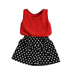 Imported Toddler Girls Summer Outfits Clothes T-shirt Tops Polka Dots Skirt Set 110