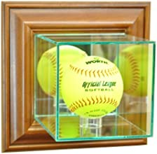 Softball Wall Mounted Glass Display Case with Walnut Frame by Hall of Fame Memorabilia
