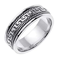 Greek Key Hand Braided Wedding Ring in 18K White Gold (8mm)