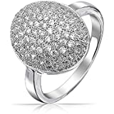 Valentine Gifts Pave Oval CZ Sparkle Engagement Ring Rhodium Plated