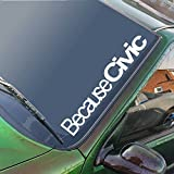 Because Civic Windscreen Sticker Honda CRX Type R VTEC JDM Drift Car Slammed Lowered Dub VW Decal 550mm x 80mm