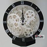 12 Inch Big Wheel Moving Gear Clock Desk Clock /Black By Timeline