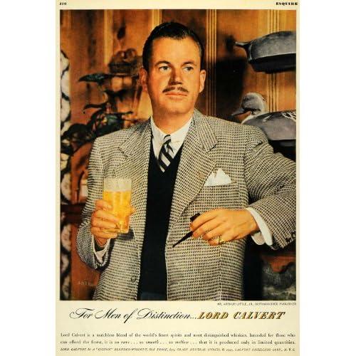 1947 Ad Lord Calvert Portrait Drink Beverage Whiskey Distilleries Arthur Little   Original Print Ad