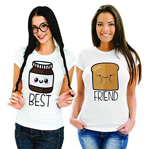 Coppia Di T Shirt Magliette You And Me Best Friend Pane e Cioccolata Bianche Donna Best S Donna Friend XS