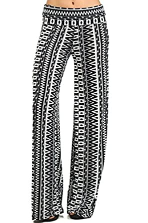 307 Tribal print, knit palazzo pants with a high fold-over waist and a wide leg M