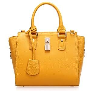 Fineplus Cute Padlock Genuine Leather Handbags For Women