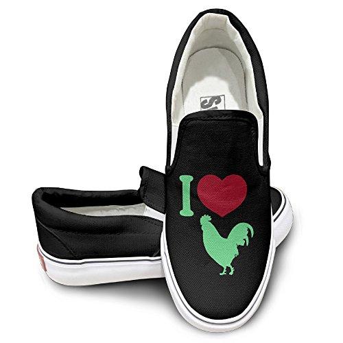 EWIED Unisex Classic I LOVE COCK Slip-On Shoes Black Size40 (Jurassic World Rubber Bracelets)