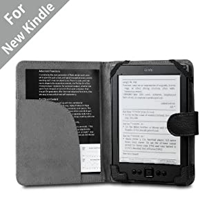 "Acase(TM) Classic Kindle Leather Case (Black) for 4th Generation 6"" Kindle Wi-Fi w/o Keyboard (Not for Kindle Touch)"