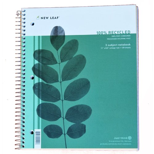 Image of Three Subject Notebook - 100% Recycled Paper