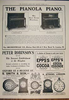 buy Old Original Antique Victorian Print Pianola Piano Advert Robinson'S Cocoa Smith Watches 165871