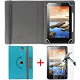 "Hello Zone Exclusive 360° Rotating 7"" Inch Flip Case Cover + Free Tempered Glass For BSNL Penta Tab IS703C -Sky..."
