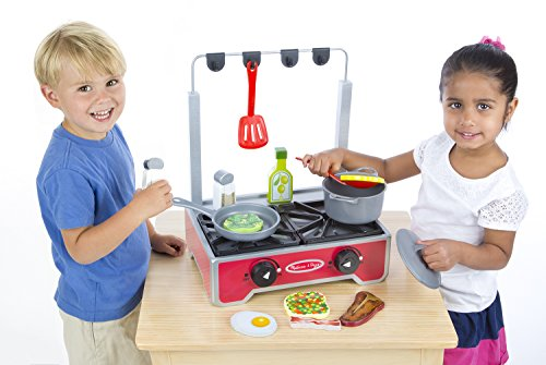 Melissa Doug 17 Piece Deluxe Wooden Cooktop Set With Wooden Play Food Durable Pot And Pan