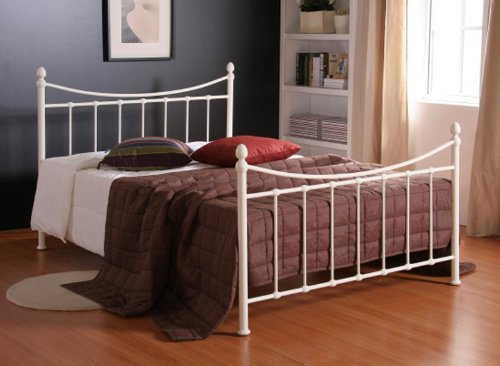 4FT Ivory Metal Bed Frame Small Double sized bedstead