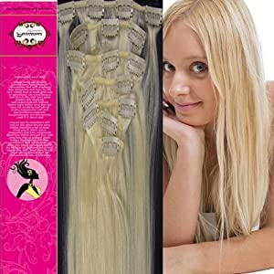15'' 100% Real Human Hair 7PCS Clip In Human Hair Extensions Straight hair Color 60 Platinum Blonde 70g Beauty Design Salon by ZCF HAIR
