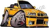 BMW M3 CONVERTIBLE YELLOW Car Sticker Decal - Koolart