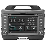 Hkhonda for KIA Sportage 2010-2014 Car DVD Player GPS Navigation 3g Wifi Sd Card with Maps (Color: Black)