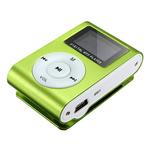 ELEGIANT Metal Clip Digital MP3 Player FM Radio LCD Screen for 2/4/8/16GB TF Card Green